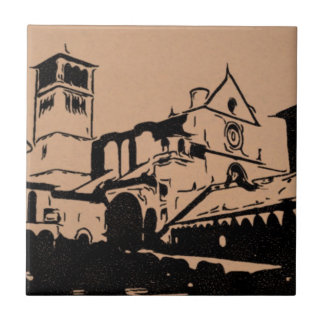 A Simple Sketch of St. Francis Basilica, Assisi Small Square Tile
