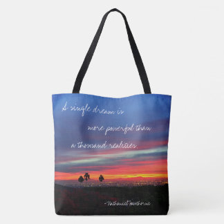 """A single dream"" quote orange & blue sunrise photo Tote Bag"