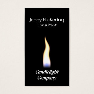 A single flame on a black background business card