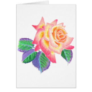 A single hybrid tea rose in pastel colors. card