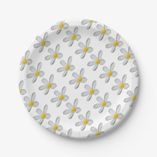 A Single Plumeria Flower Isolated Paper Plate