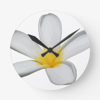 A Single Plumeria Flower Isolated Round Clock