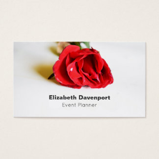 A Single Red Rose Minimalist Elegant Event Planner Business Card