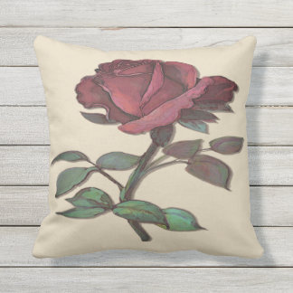 A single Red Rose Pillow