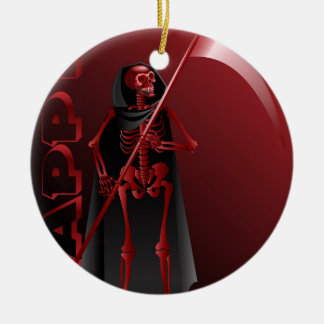 A skeleton with a scythe Happy Halloween 2 Ceramic Ornament