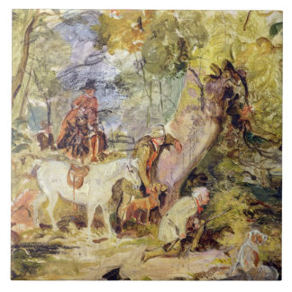 A Sketch for 'Foresters Stalking Deer' (oil over c Ceramic Tile