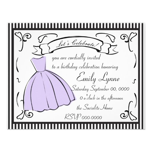 A Sketched Dress Personalized Invitations
