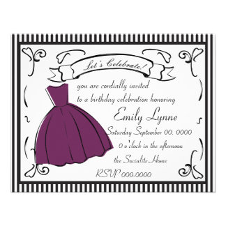 A Sketched Dress Personalized Invitation