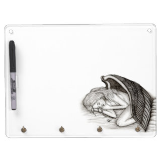 A sleeping Angel , Black and white Design Dry Erase Board With Key Ring Holder