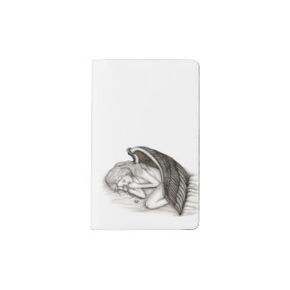 A sleeping Angel , Black and white Design Pocket Moleskine Notebook