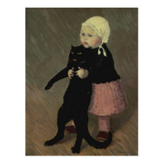 A Small Girl with a Cat, 1889 Postcard