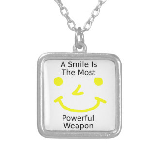 A Smile Is The Most Powerful Weapon (Smiley Face) Silver Plated Necklace