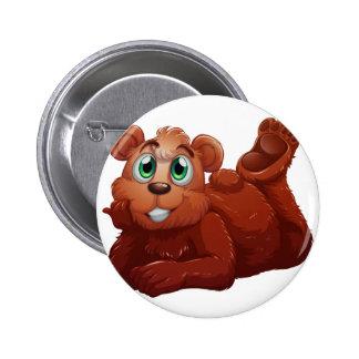 A smiling bear 6 cm round badge