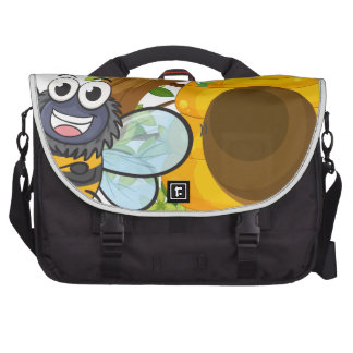 A smiling bee beside its beehive laptop commuter bag