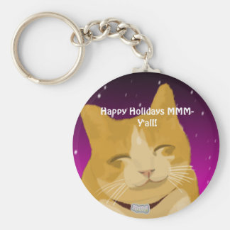 A smiling cat wish you happy holidays keychain