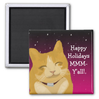 A smiling cat wish you happy holidays magnet
