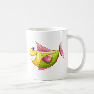 A smiling colorful aquatic fish basic white mug