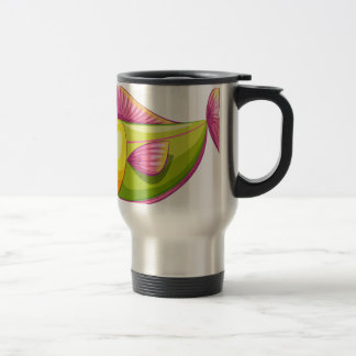 A smiling colorful aquatic fish stainless steel travel mug