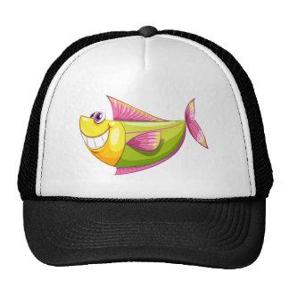 A smiling colourful aquatic fish cap