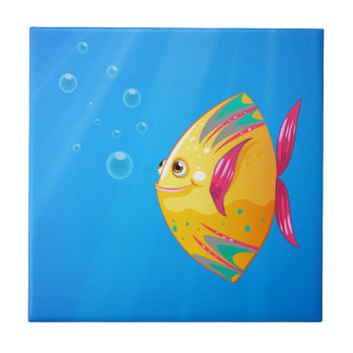 A smiling fish swimming small square tile