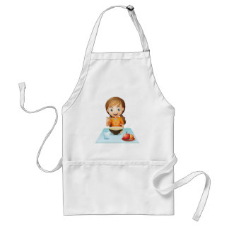 A smiling girl eating her breakfast aprons