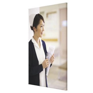 A smiling nurse stretched canvas print