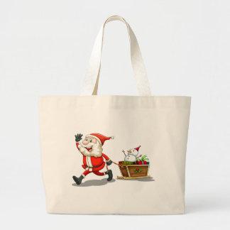 A smiling Santa pulling a sleigh Jumbo Tote Bag
