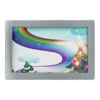 A smiling Santa with a rainbow in the sky Belt Buckles