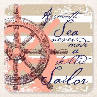 A Smooth Sea never made a skilled Sailor Square Paper Coaster