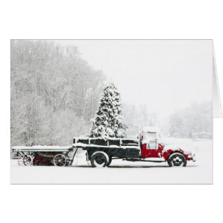 A Snow Covered Truck Sits In A Field Card