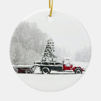 A Snow Covered Truck Sits In A Field Ceramic Ornament