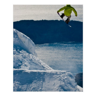 A snowboarder jumping poster