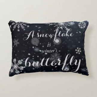 A snowflake is winter's butterfly quote decorative cushion