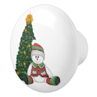 A Snowman for Christmas Ceramic Knob