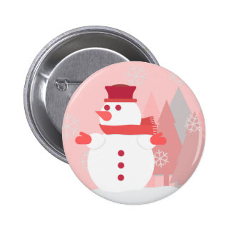A Snowman Resting Upon the Snow as Snowflakes Fall Pinback Button