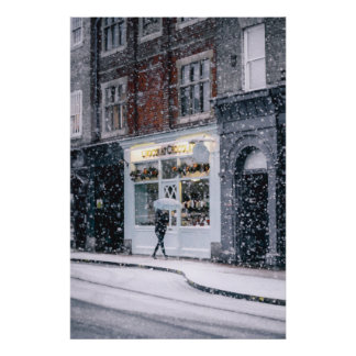 A snowy day in Cambridge Poster
