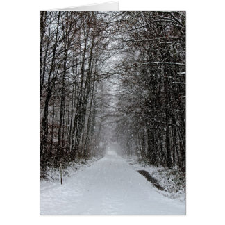 A snowy day in the forest greeting card