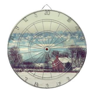A Snowy Day Landscape Dart Board
