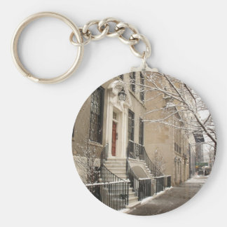 A Snowy Day on the Upper East Side Basic Round Button Key Ring