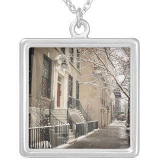 A Snowy Day on the Upper East Side Square Pendant Necklace