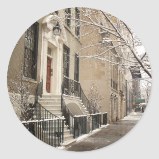 A Snowy Day on the Upper East Side Round Sticker