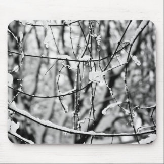 A snowy day tree black and white mouse pad