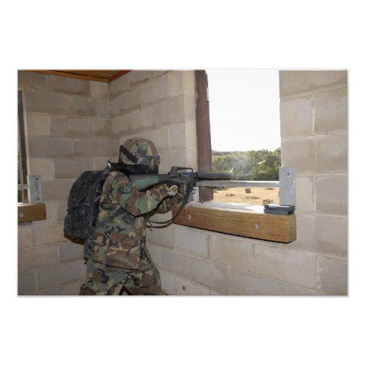 A soldier acts as an opposition force photo print