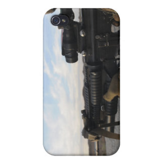 A soldier sights in to fire on a target case for iPhone 4