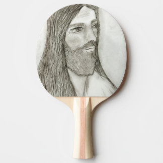 A Solemn Jesus Ping Pong Paddle