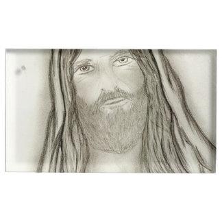A Solemn Jesus Place Card Holder