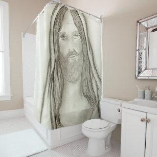A Solemn Jesus Shower Curtain