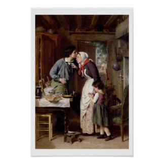 A Son's Devotion, 1868 (oil on canvas) Poster
