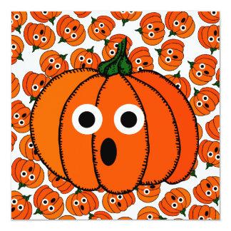 """A Spooked Pumpkin (Add Background Color) 5.25"""" Square Invitation Card"""