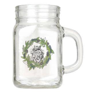 a Squirrel and a Wreath Wedding Favor Mason Jar
